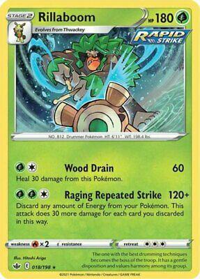 4x Rillaboom - 018/198 - Holo Rare NM-Mint Pokemon SWSH6 - Chilling Reign