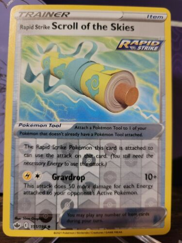 Pokemon RAPID STRIKE SCROLL OF THE SKIES 151/198 Chilling Reign Rev Holo - MINT