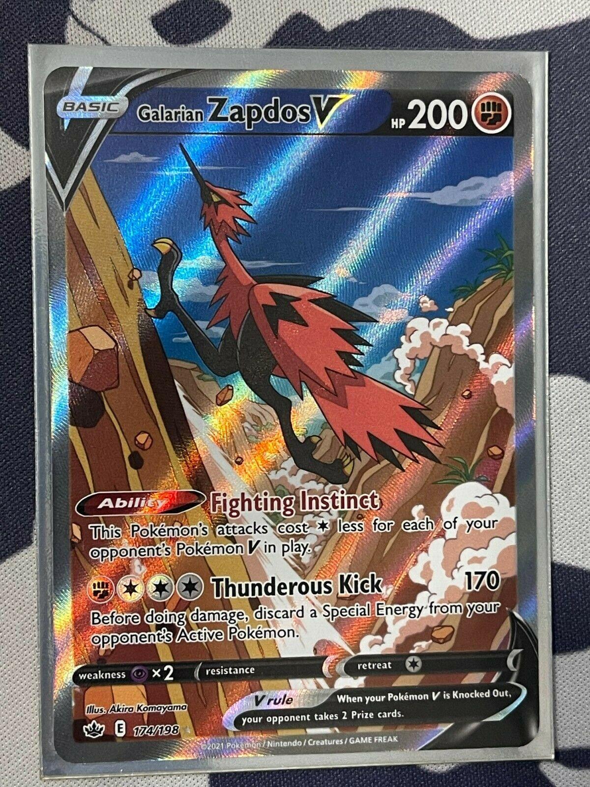 Chilling Reign Galarian Zapdos V Alt Art 174/198 Pokémon Mint/Near Mint