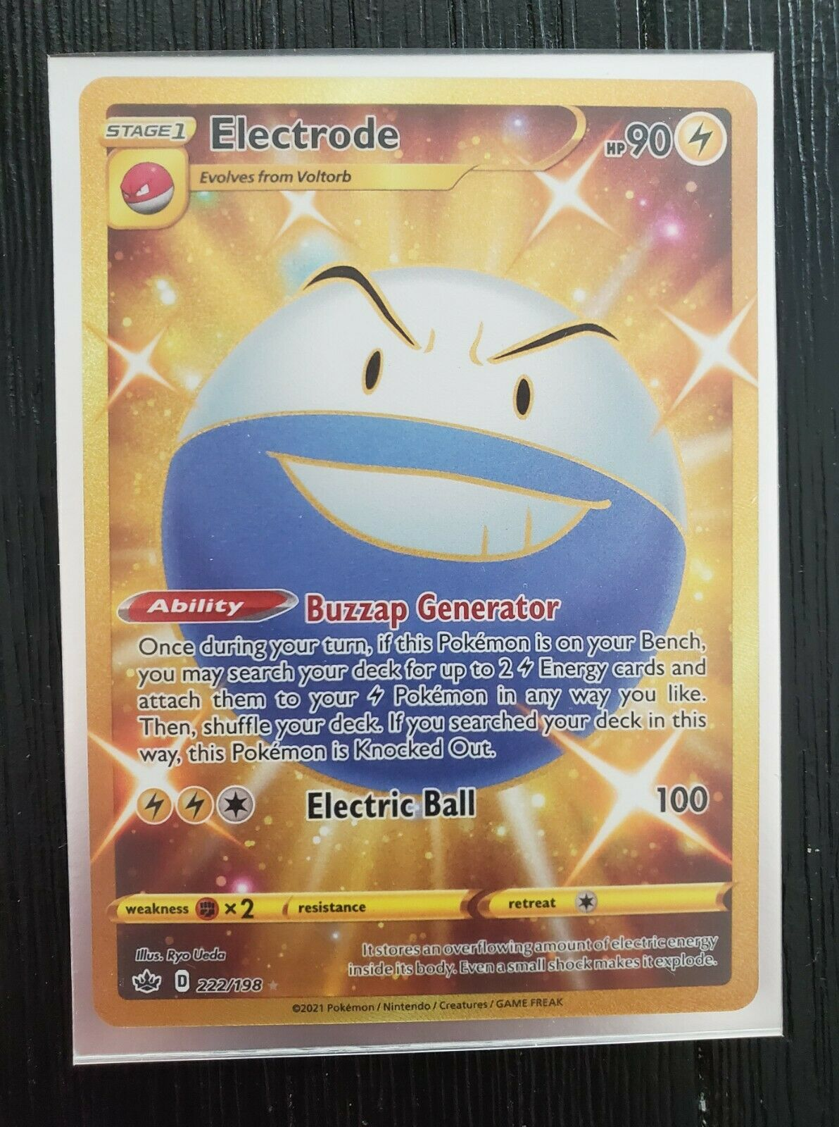 Chilling Reign Electrode 222/198 Secret Rare Gold Pokemon Card - NM-M