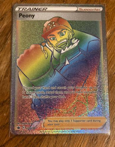 Peony Secret Rainbow Rare Pokemon Card Chilling Reign 220/198 Mint/Near Mint