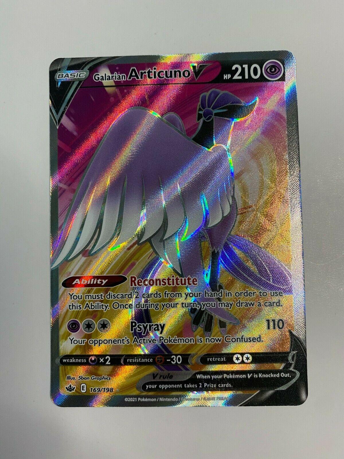 Pokemon Galarian Articuno V 169/198 Full Art Chilling Reign NM/Mint Card