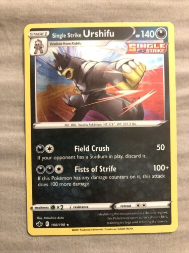 Pokemon - Single Strike Urshifu - 108/198 - Holo Rare - Chilling Reign - NM/M
