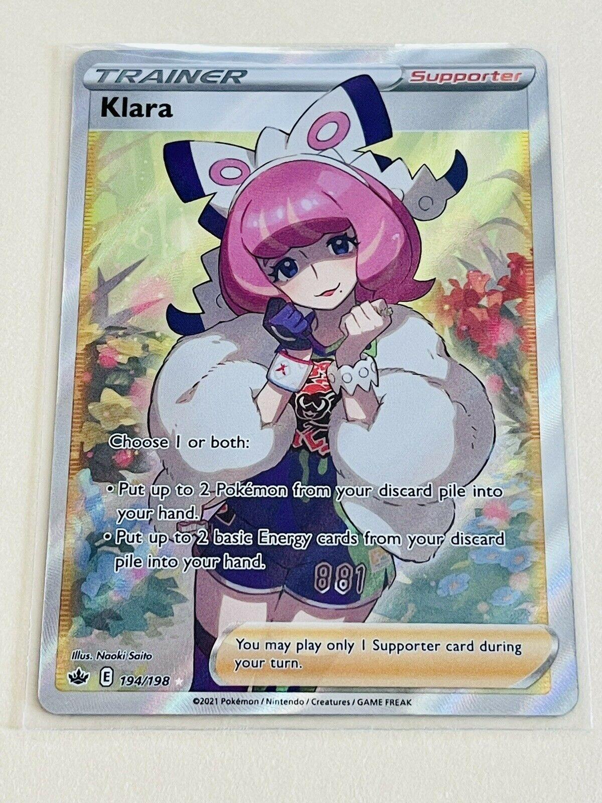 Klara 194/198 Full Art Holo Rare Trainer Chilling Reign Pokemon TCG NM/M