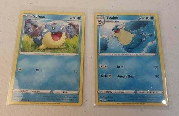 Spheal 037/198 & Sealeo 38/198 Chilling Reign 2021 Pokemon Trading Card
