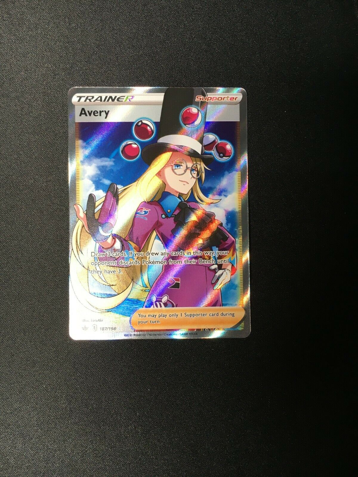 🎩 Avery 187/198 FULL ART Trainer Rare Pokemon TCG Card Mint/NM Chilling Reign