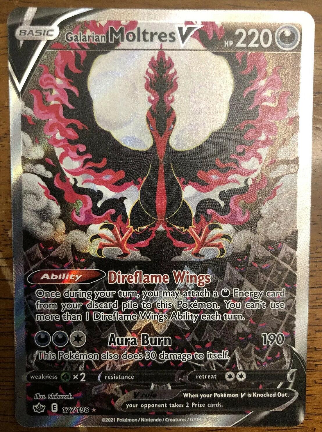 Galarian Moltres V 177/198 Full Alternate Art Pokemon Chilling Reign TCG NM/M