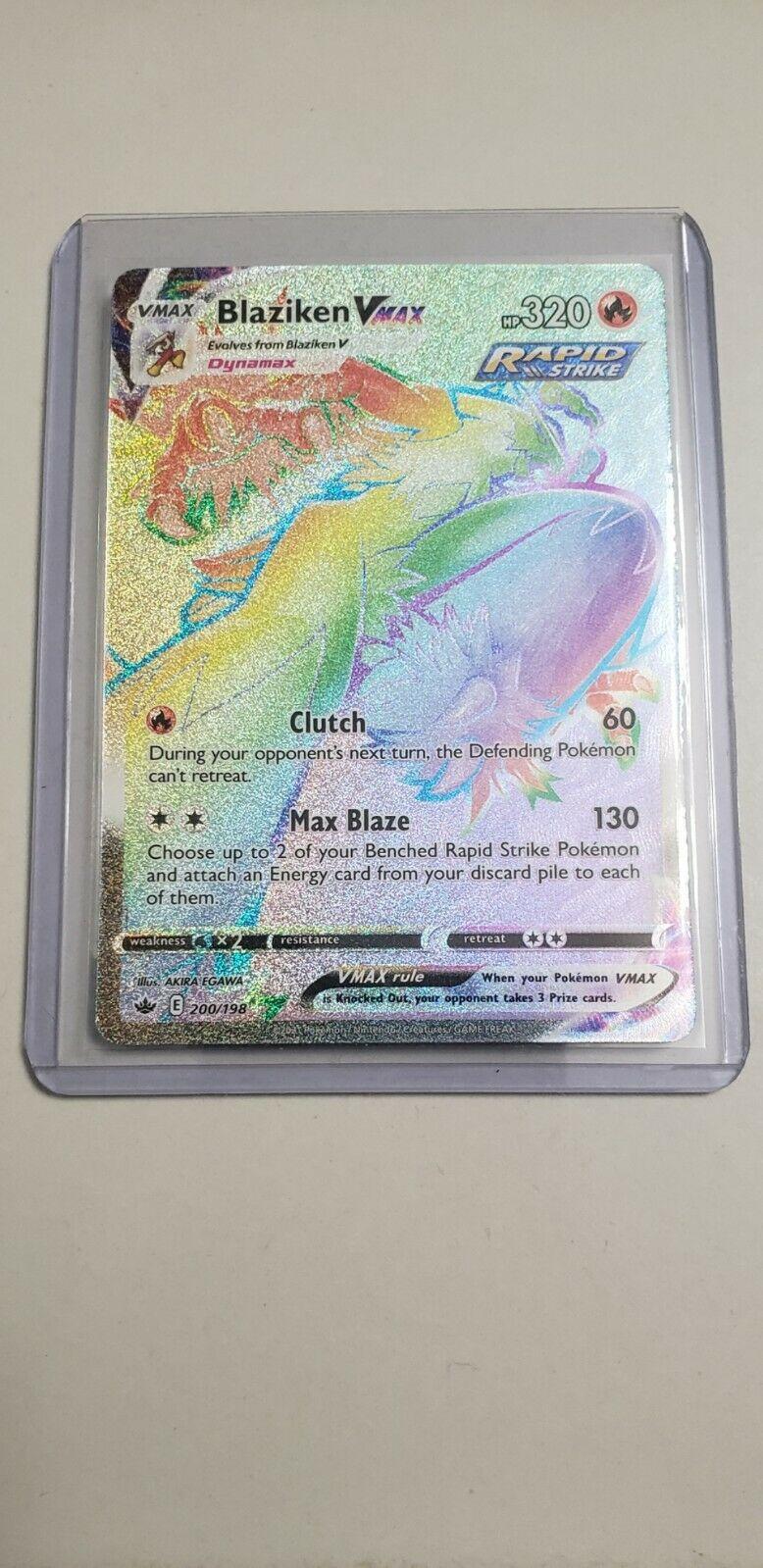 Rainbow Blaziken VMAX Pokemon Chilling Reign Card 200/198 Mint Condition