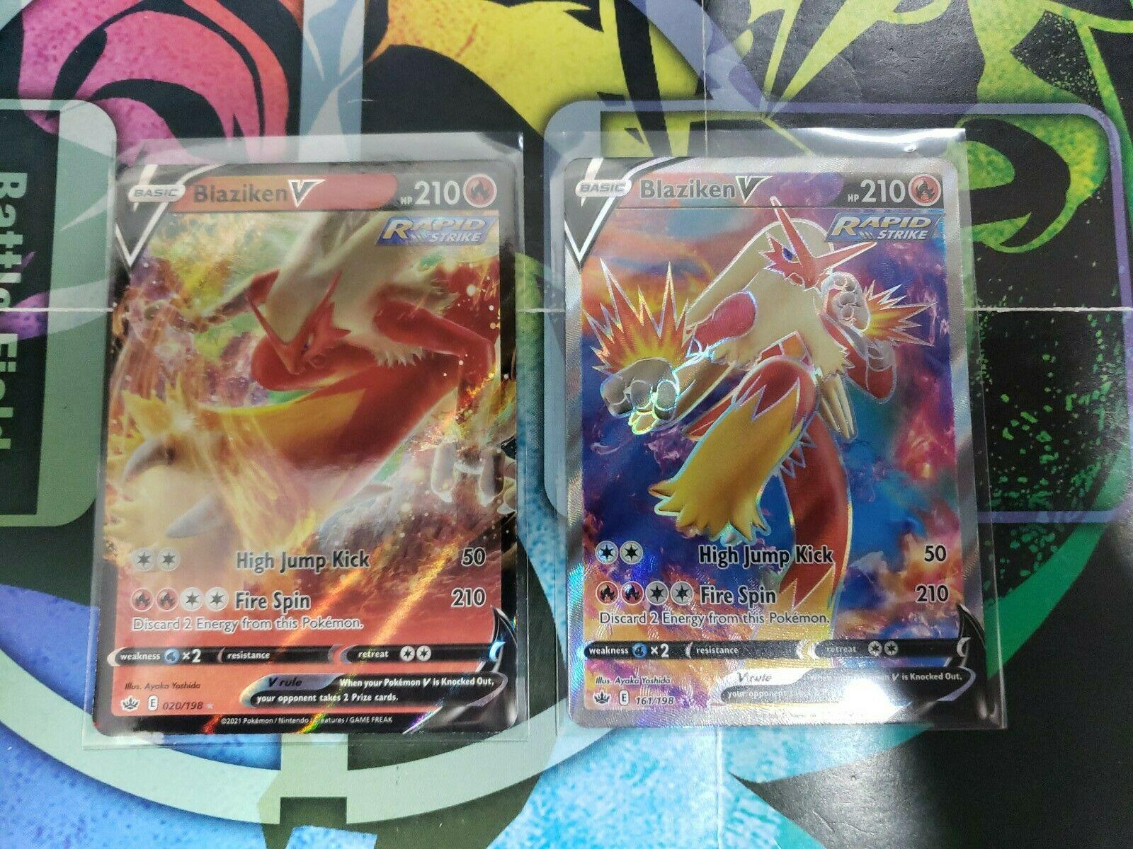 Pokemon Blaziken V 161/198 Full Art Ultra Rare & 020 Chilling Reign NEW IN-HAND