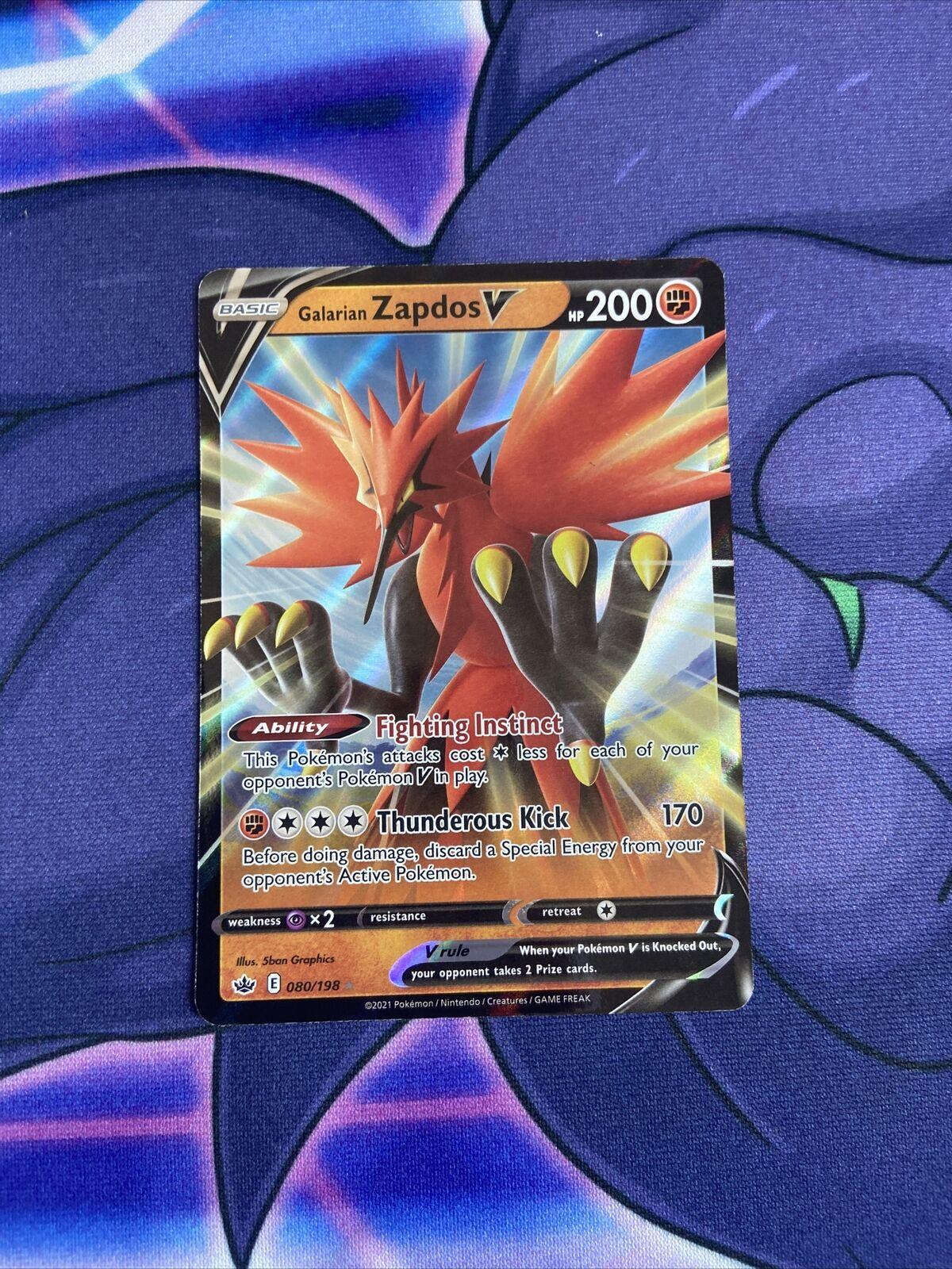 Pokemon - Galarian Zapdos V 080/198 - Ultra Rare - Chilling Reign - NM/M - New