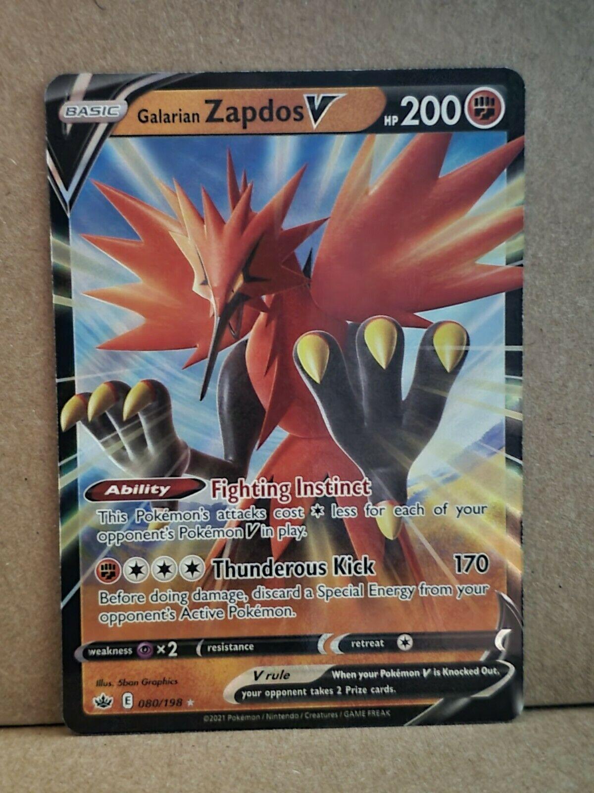 Galarian Zapdos V 080/198 80/198 Ultra Rare Chilling Reign Pokemon Card Mint