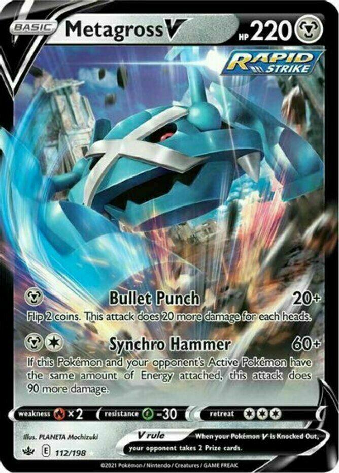 Pokemon - Metagross V - 112/198 - Ultra Rare- Chilling Reign - NM/M