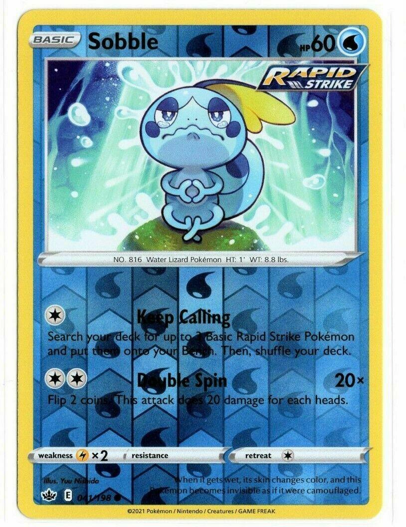 Pokemon - Sobble 041/198 - Reverse Holo - Chilling Reign - NM/M - New
