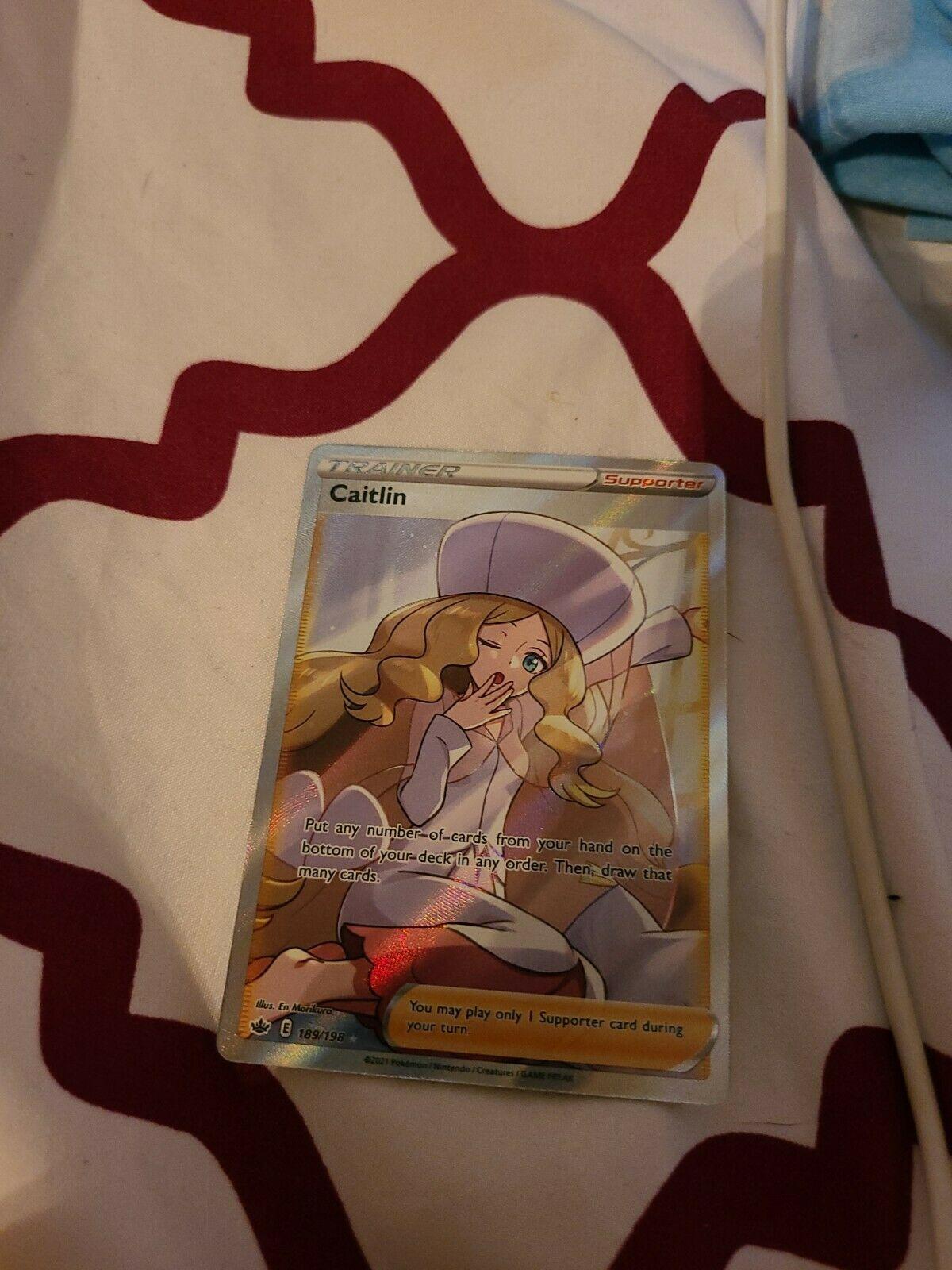 Caitlin Full Art Trainer 189/198 Chilling Reign Pokemon Card NM/M PSA Worthy!