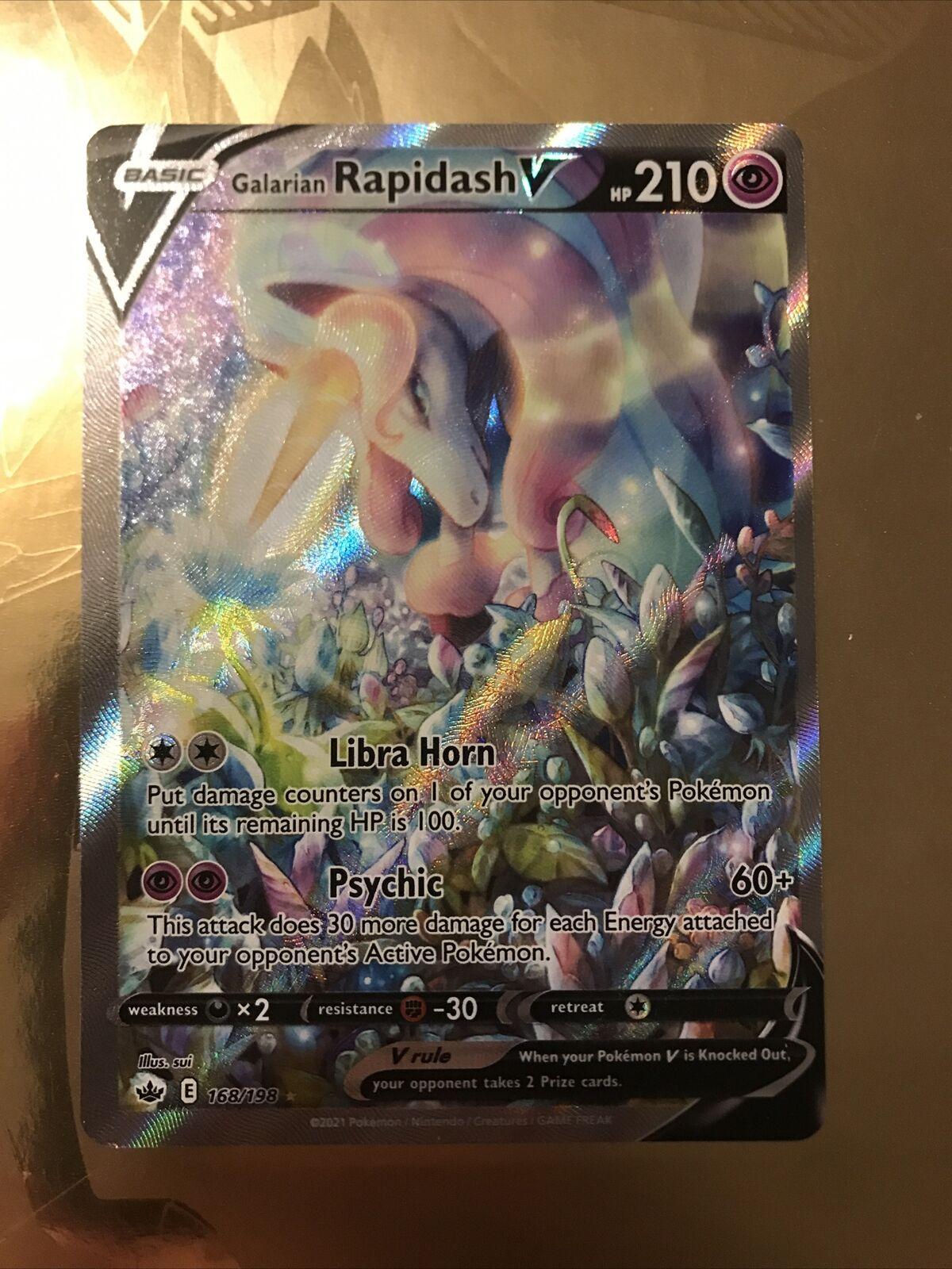 Pokemon Chilling Reign Galarian Rapidash V Alternate Full Art 168/198 NM/M