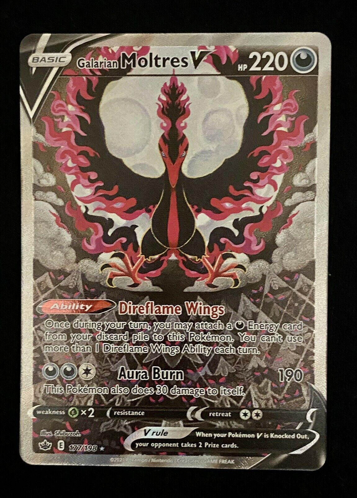 POKEMON CHILLING REIGN Galarian Moltres V Full Art 177/198 ALTERNATE ART NM PSA