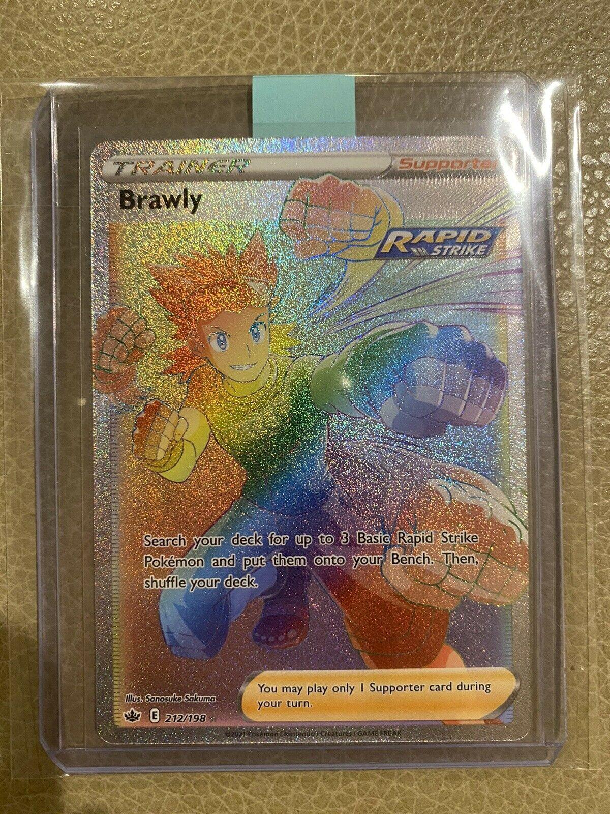 Pokemon Chilling Reign Brawly Secret Rare 212/198 - Rainbow Rare - Free Shipping