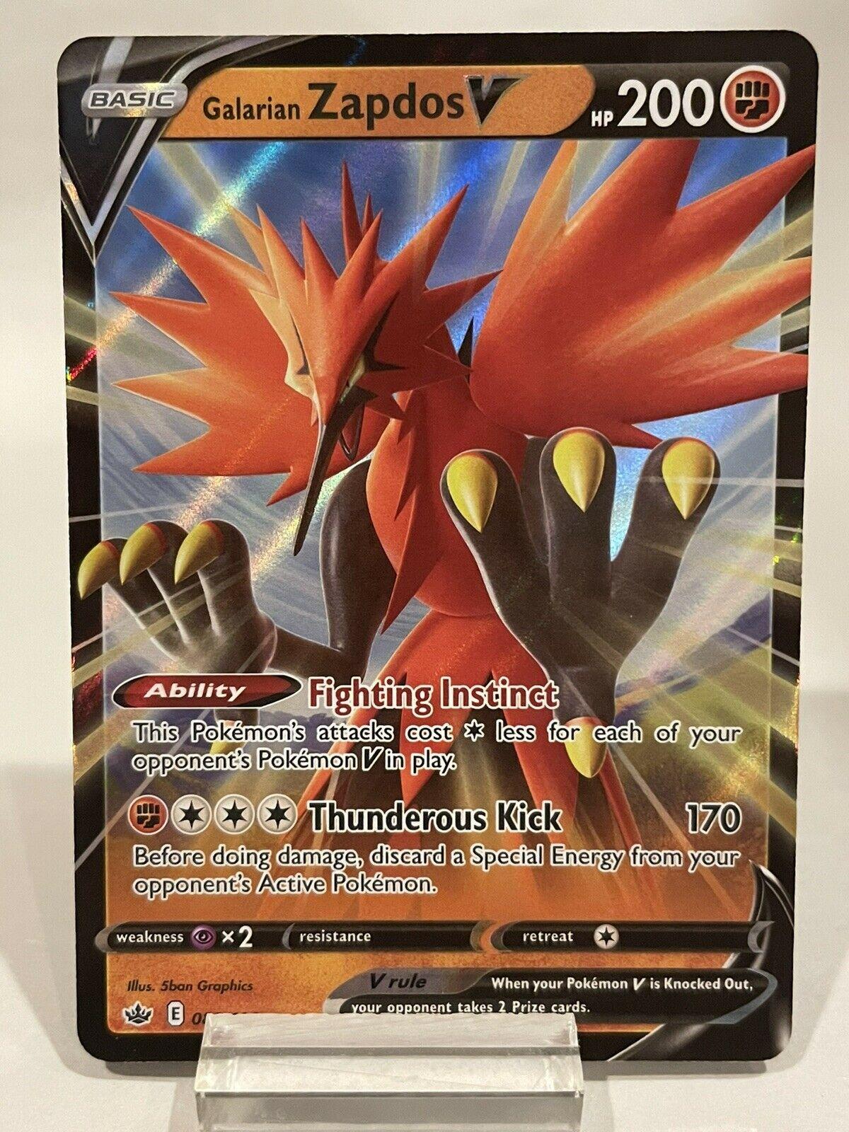Galarian Zapdos V 080/198 Ultra Rare Holo Pokémon Chilling Reign NM