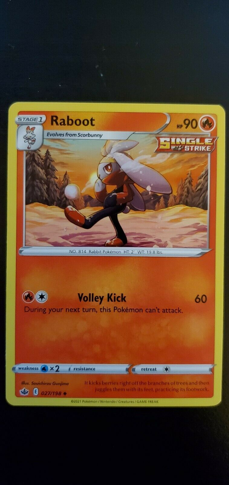 Pokemon Chilling Reign Raboot Uncommon Card 027/198 NM