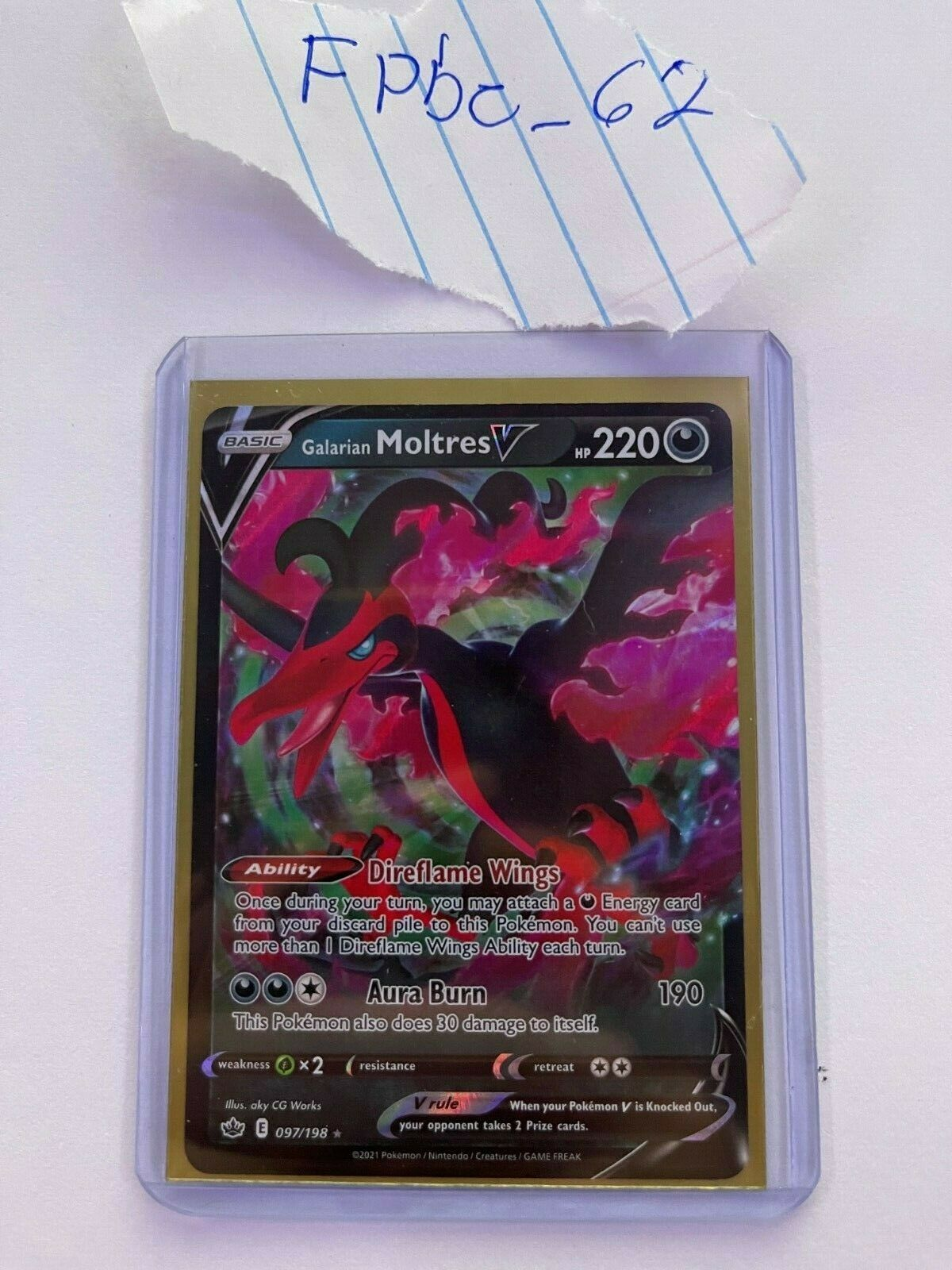 Galarian Moltres V 097/198 Chilling Reign NM Pokemon TCG