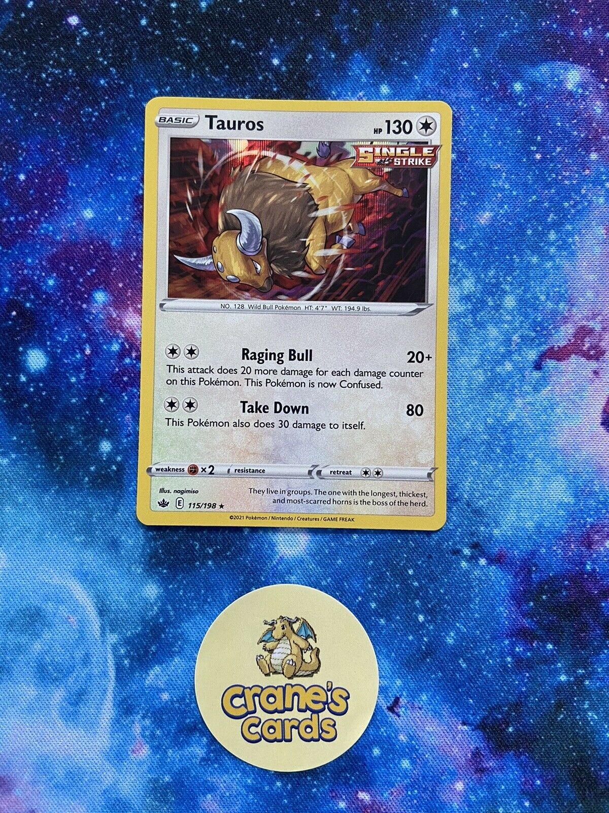 Tauros Holo Rare 115/198 SWSH Chilling Reign Mint Pokemon Card