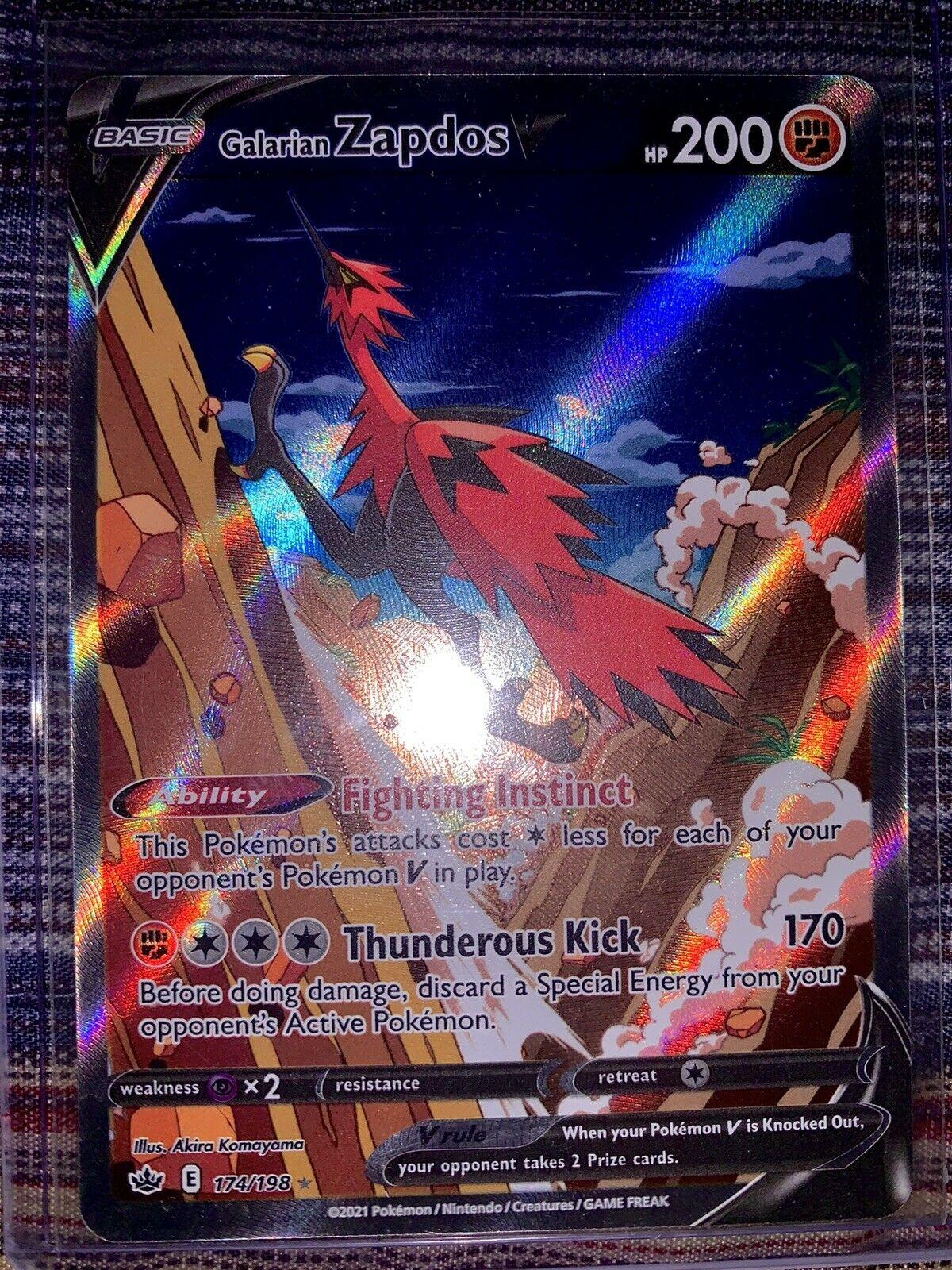 🔥Full Art Galarian Zapdos V - #174/198 - Chilling Reign Card Set🔥