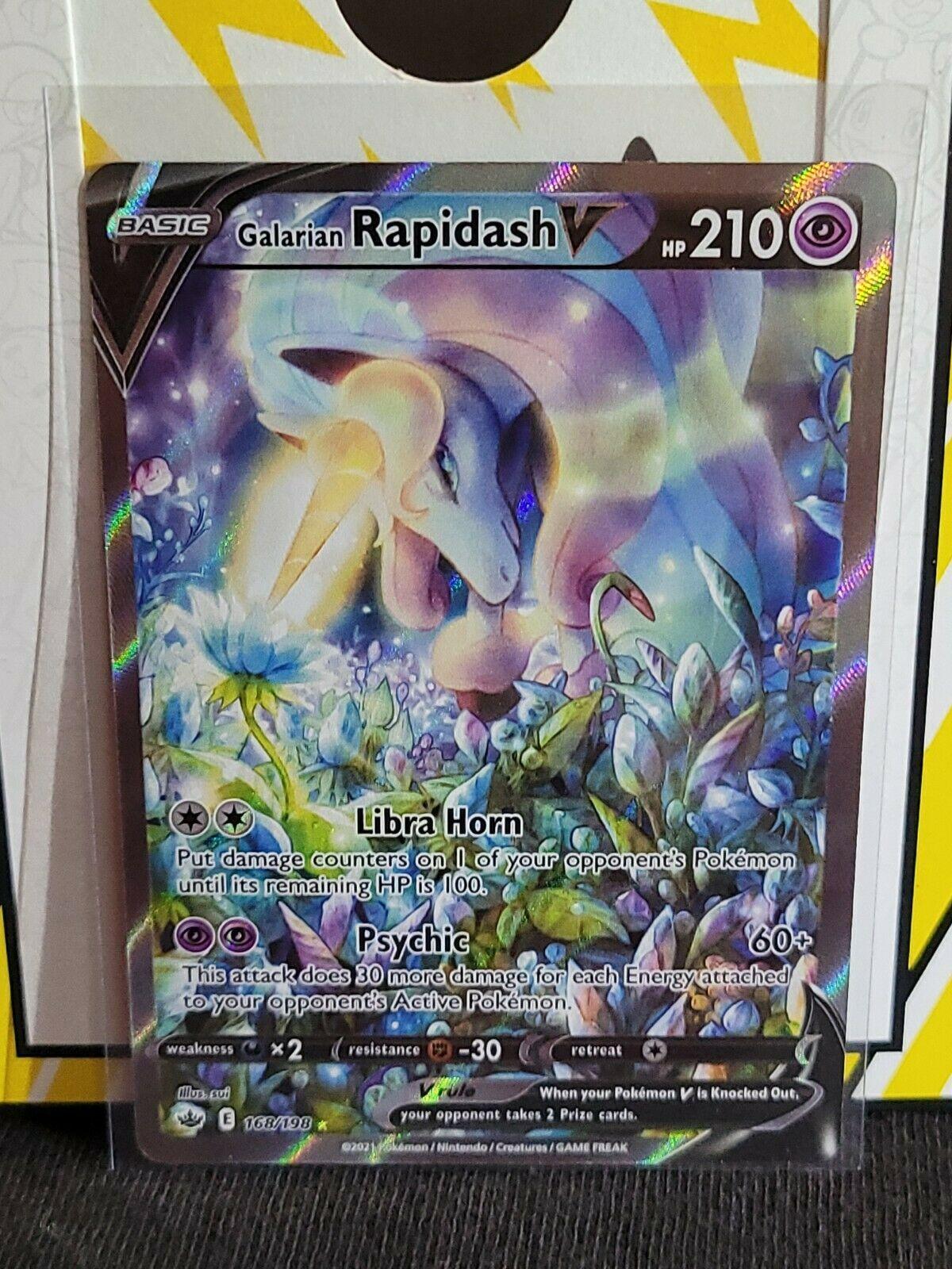 2021 Chilling Reign Galarian Rapidash V #168/198 Full Art Ultra Rare Mint