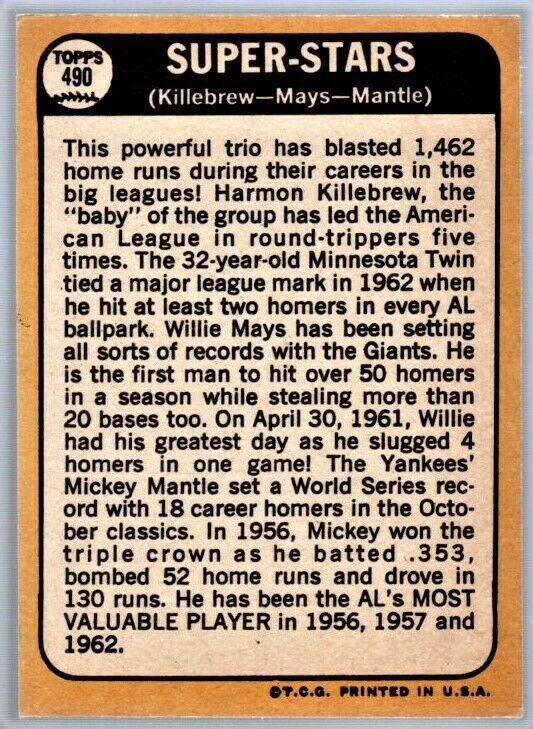 1968 Topps 490 Super Stars Willie Mays Mickey Mantle Harmon Killebrew EX+ - Image 2