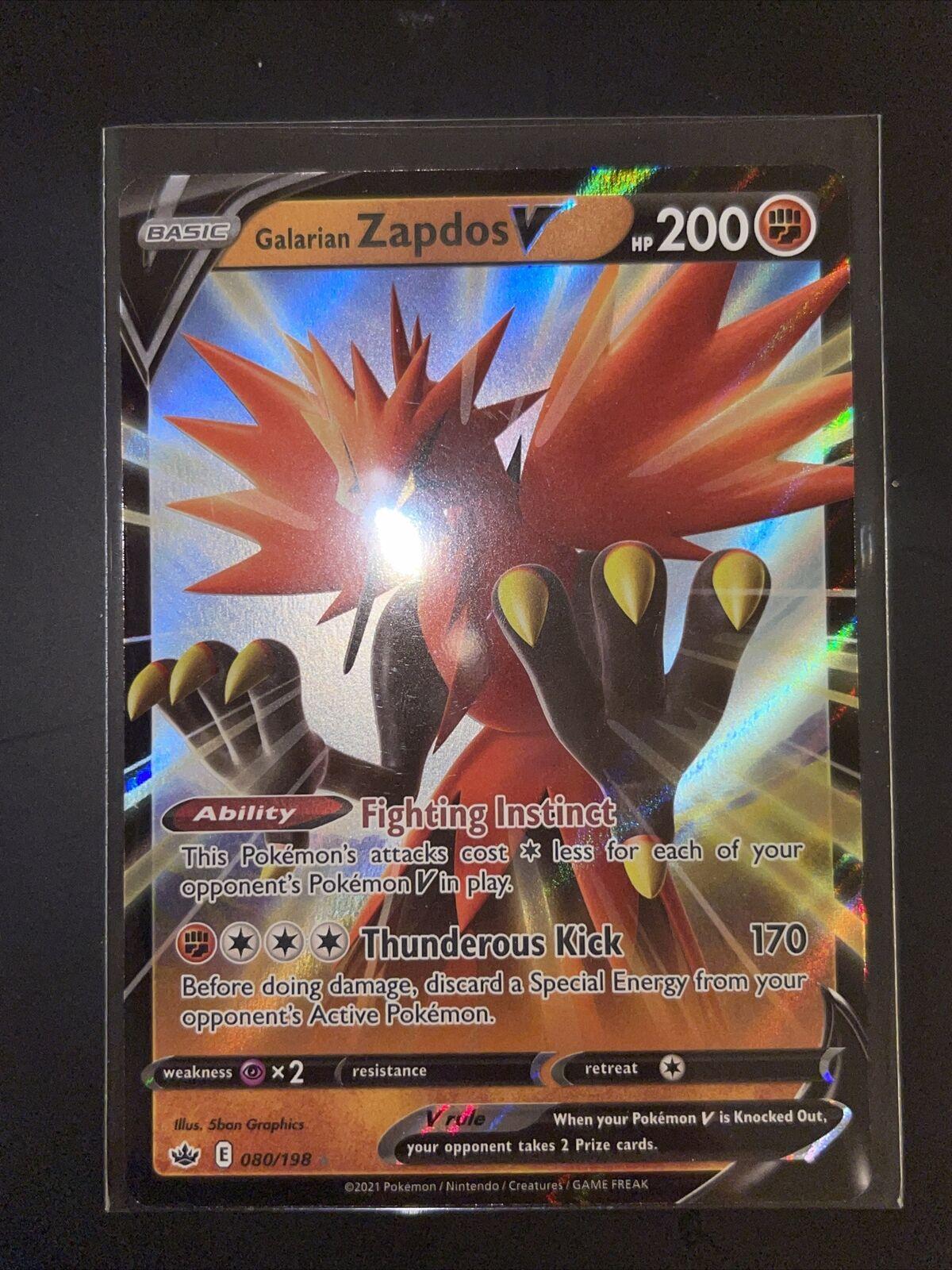 🔥Pokémon Galarian Zapdos V 080/198 Full Art Chilling Reign PSA 10 High Chance