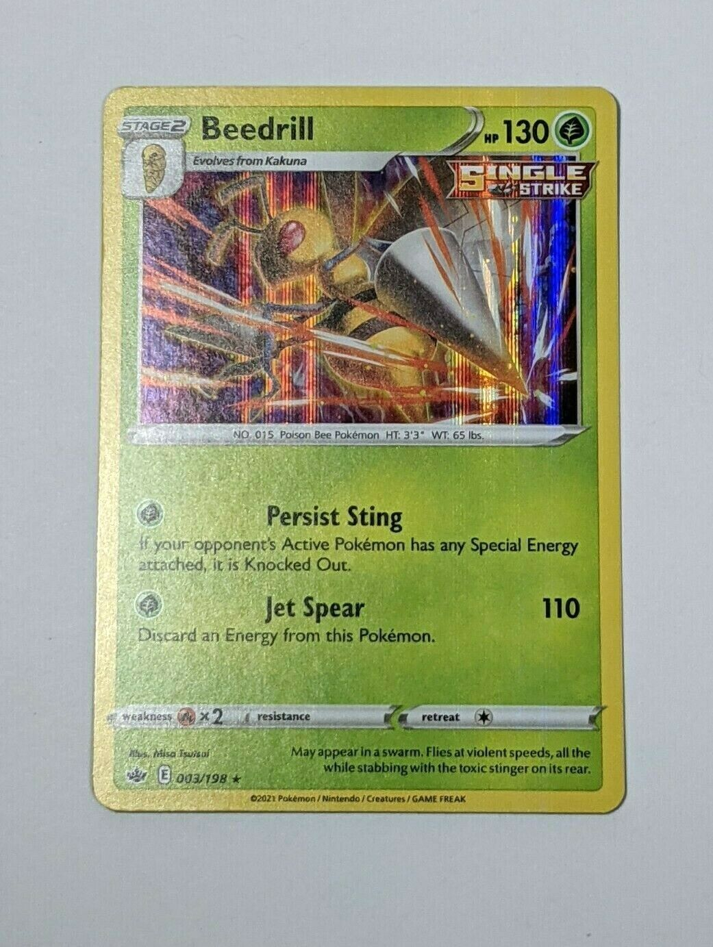 Beedrill Holo Rare English Pokemon Card Chilling Reign 003/198