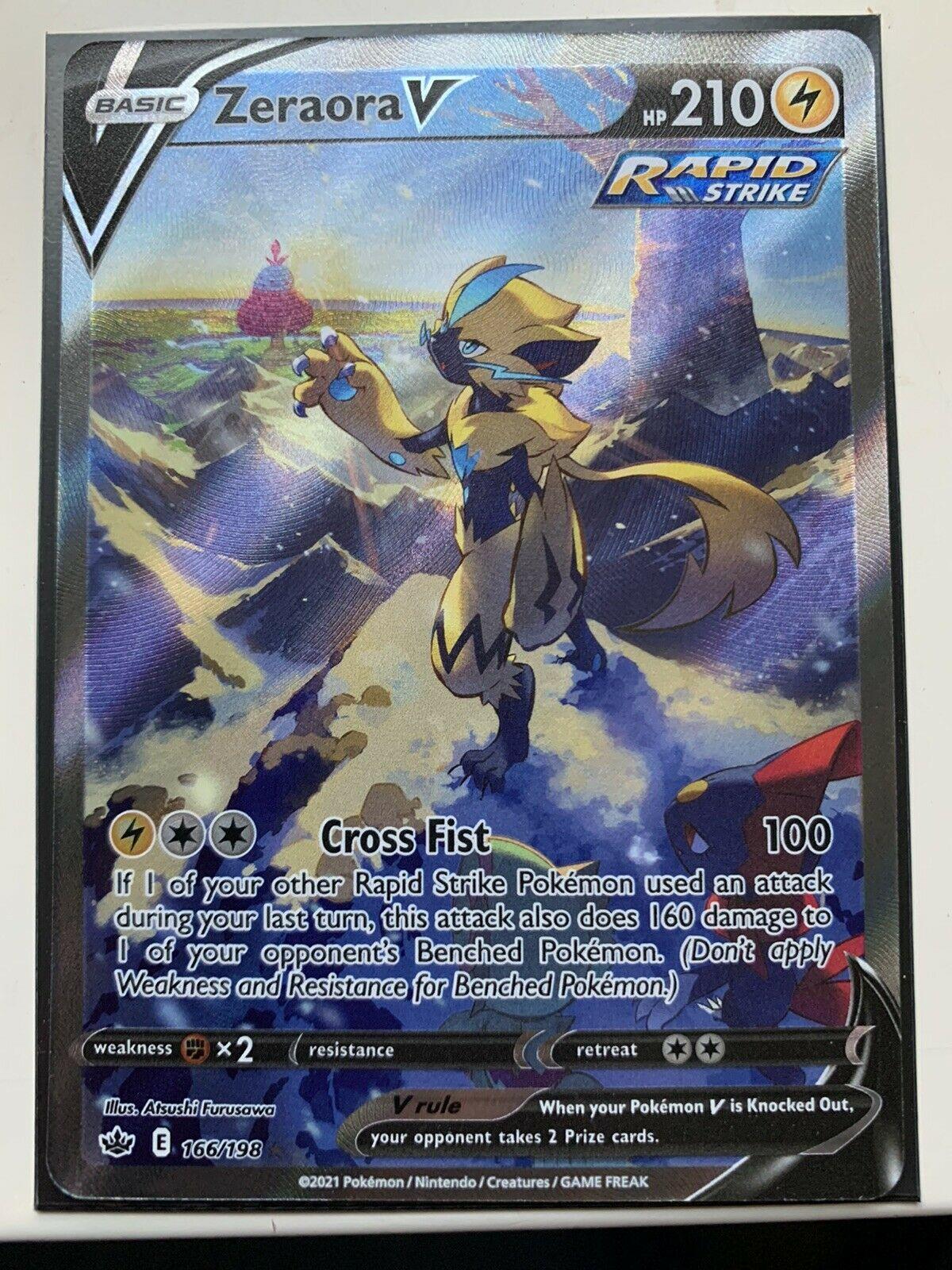 Zeraora V- 166/198- Full art Ultra Rare GEM MINT Pokémon SWSH-Chilling Reign