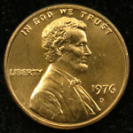1976 D Uncirculated Lincoln Memorial Cent Penny BU (C02)