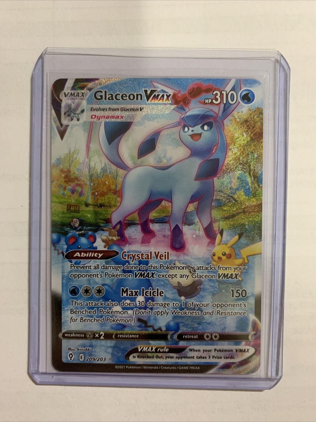 Glaceon VMAX Alternate Alt Art Evolving Skies 209/203 Secret Rare Pokemon Card