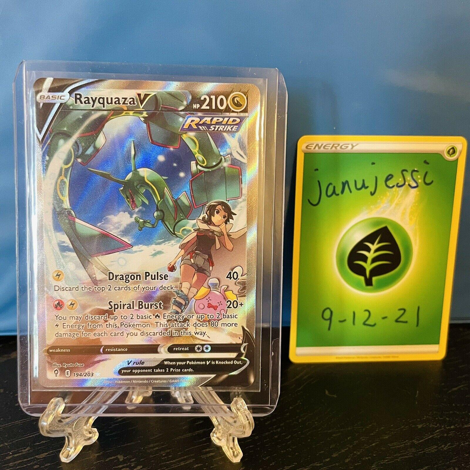 Rayquaza V Full Art Alternate Art 194/203 Evolving Skies Pokémon card MINT