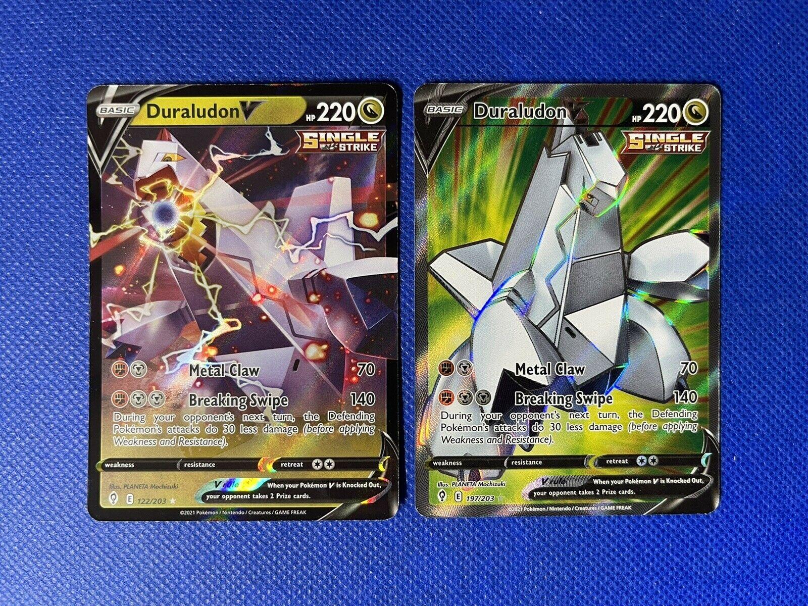 Duraludon V 122/203 + Duraludon V 197/203 FA Pokémon Evolving Skies IN HAND