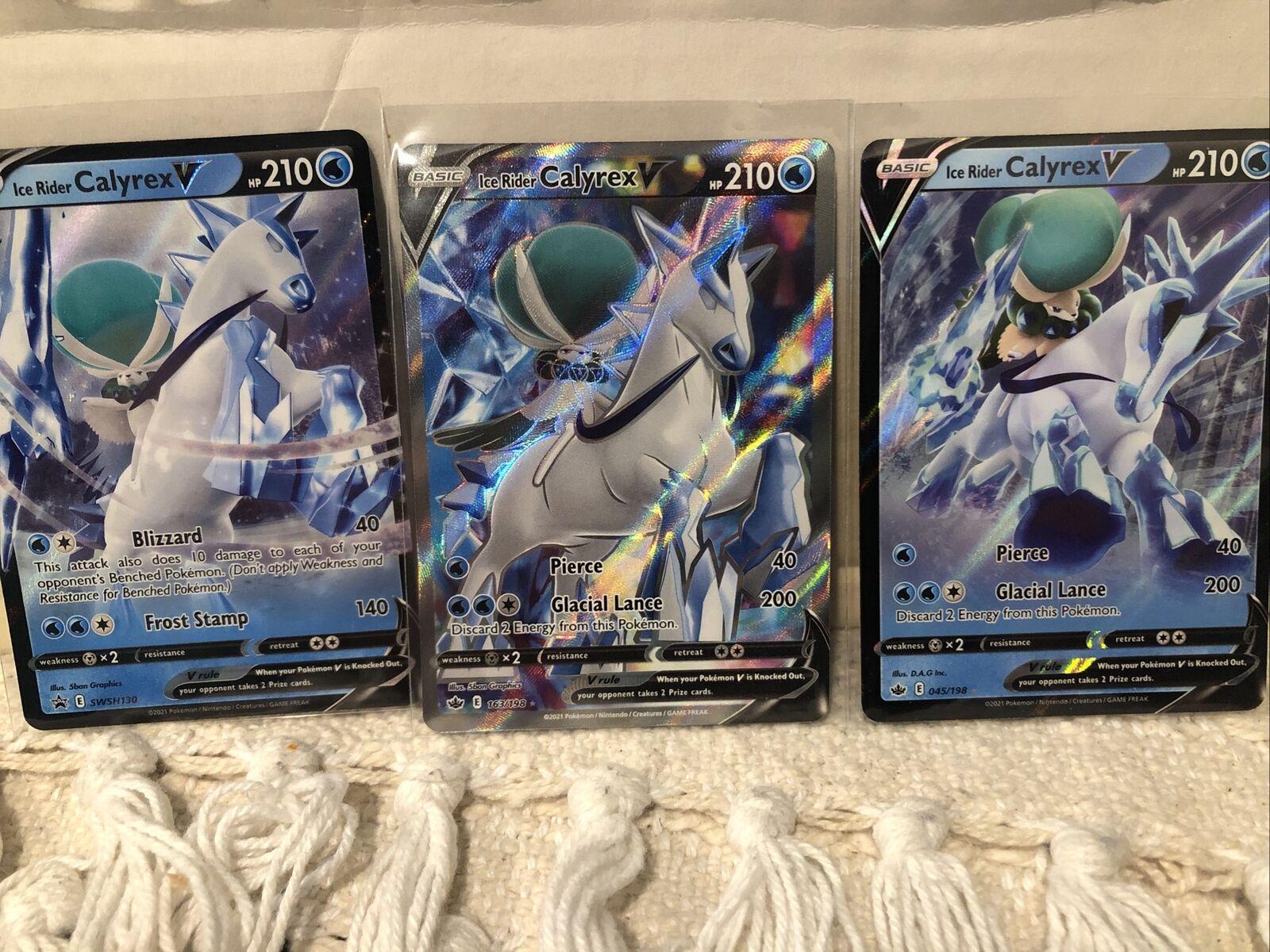 Ice Rider Calyrex V Full Art Chilling Reign Pokemon 163/198, 045/198, SWSH130 3