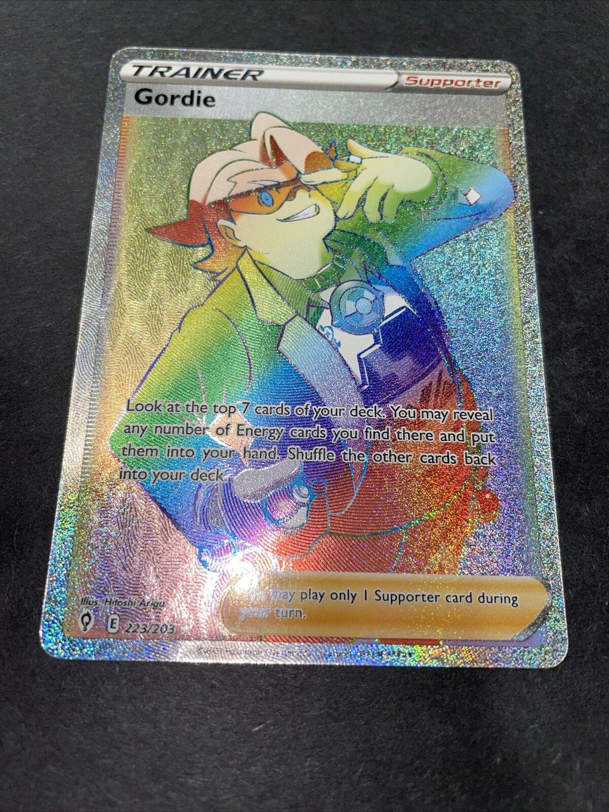 Gordie 223/203 Rainbow Secret Full Art Trainer Evolving Skies Pokemon Card Mint