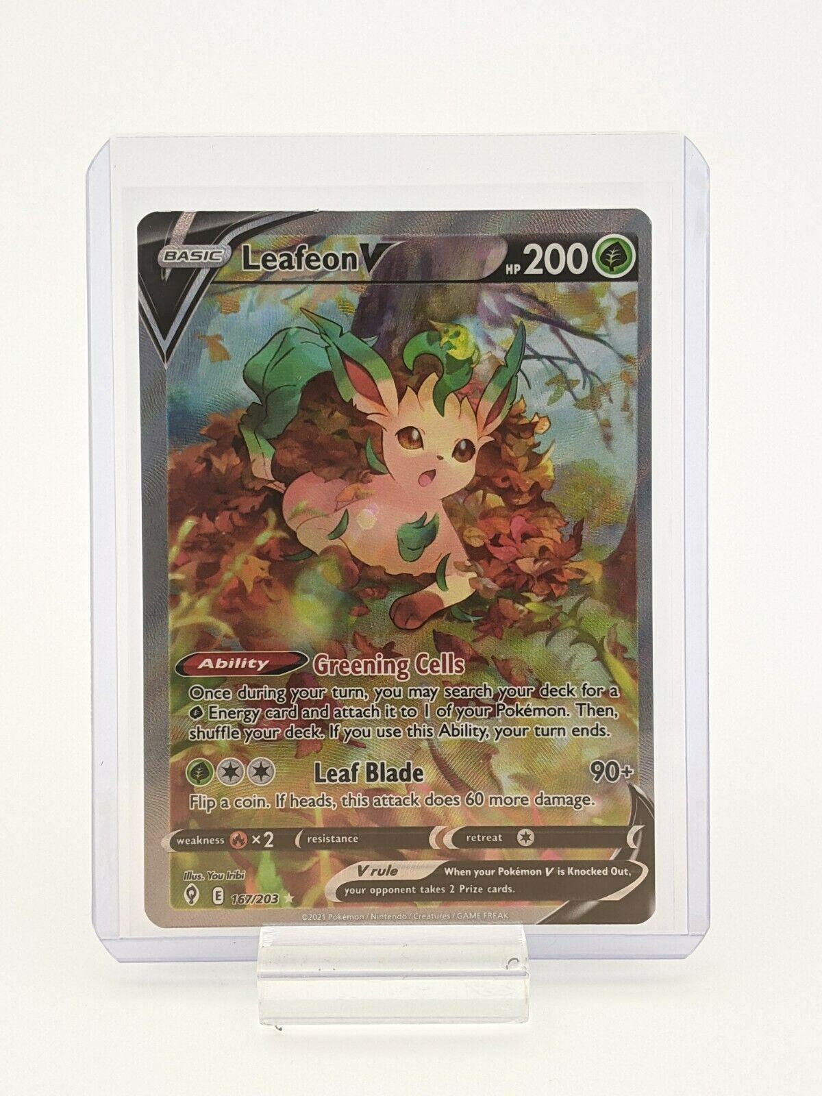 Leafeon V 167/203 Alt Art Evolving Skies Pokemon TCG Ultra Rare NM