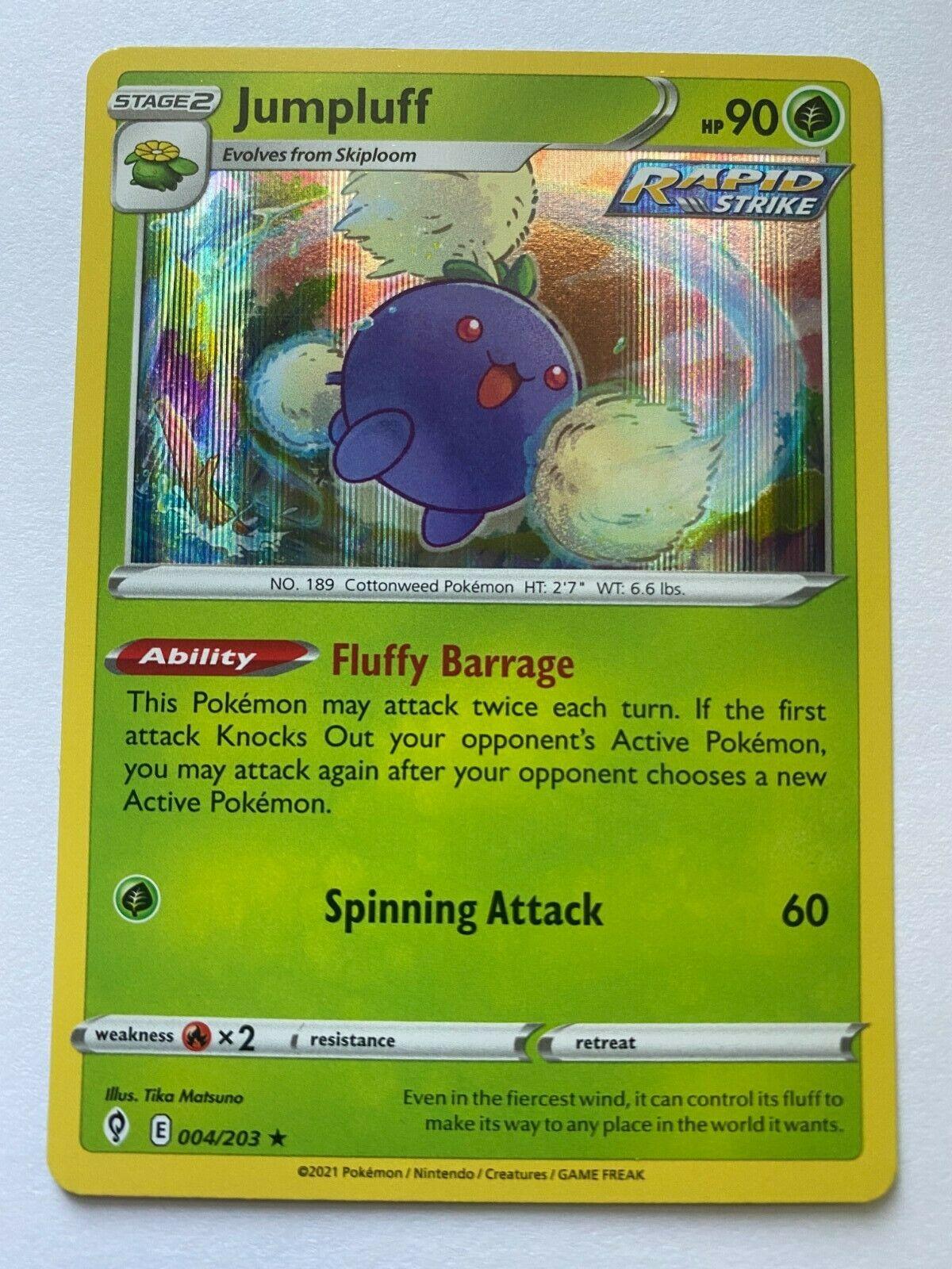 Jumpluff 004/203SWSH07: Evolving Skies Pokemon TCG Holo Rare Near Mint