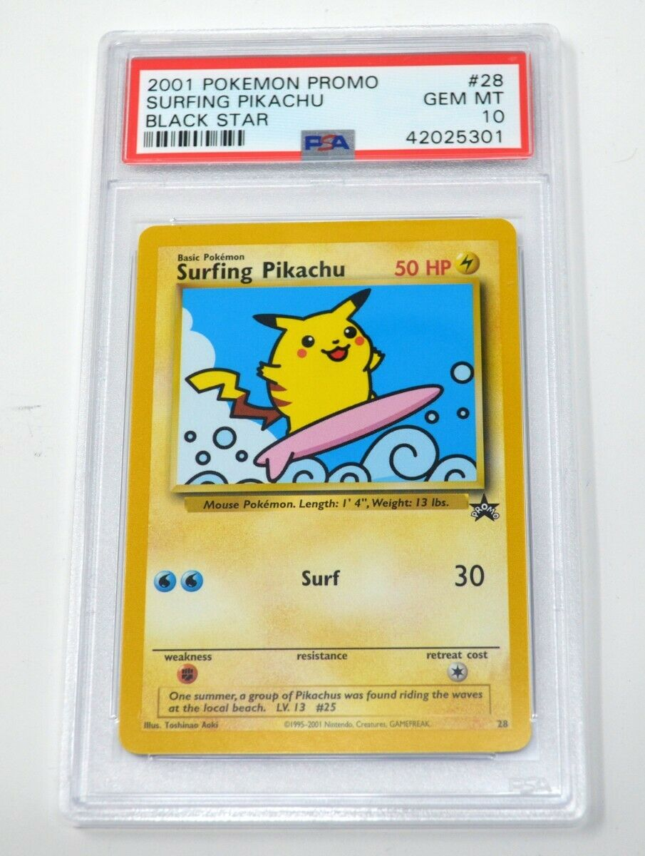 OLD Vintage Wotc Pokemon Card Black Star Promo Surfing Pikachu  #28 Mint