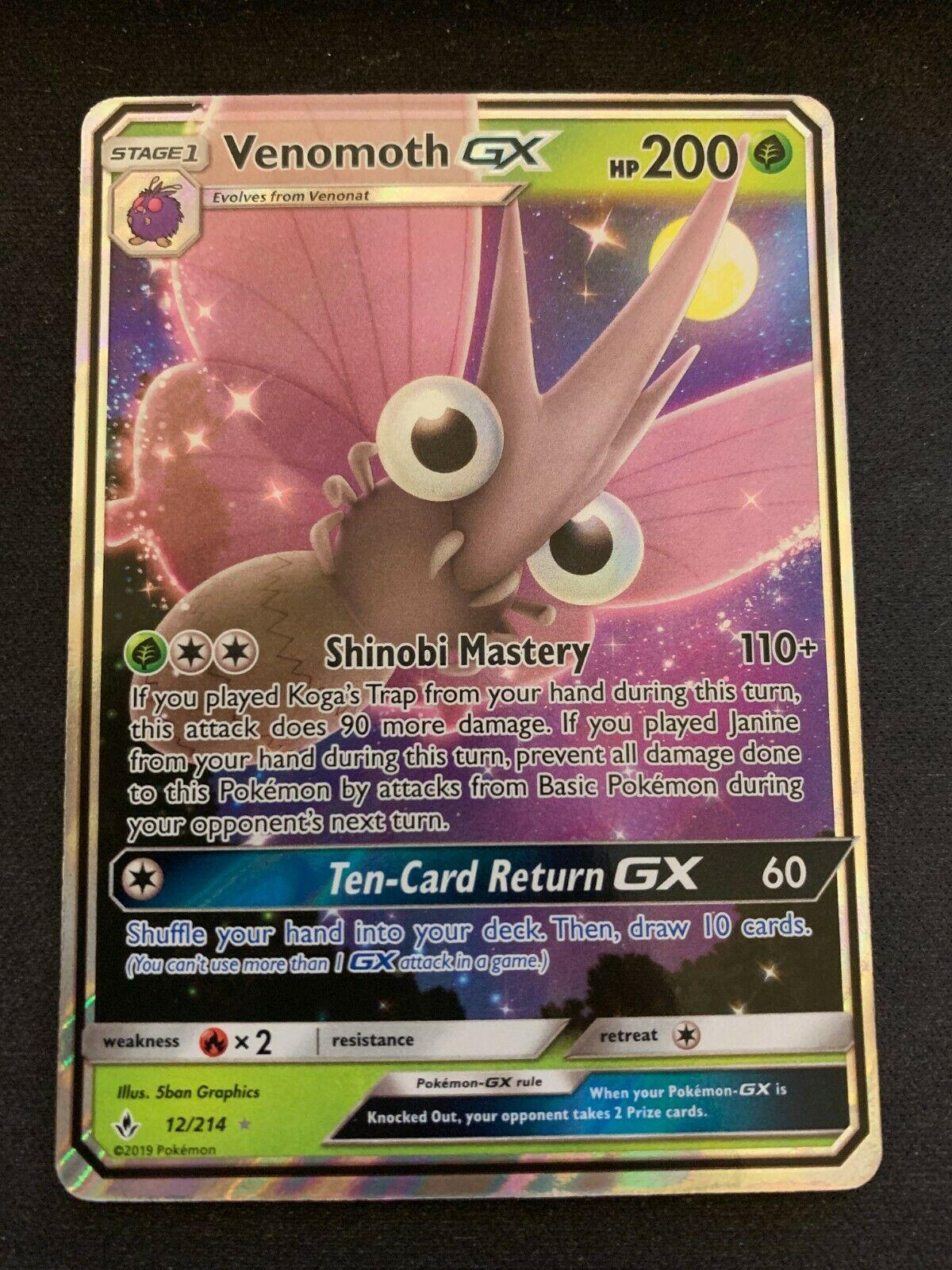 Venomoth GX 12//214 Unbroken Bonds Holo Ultra Rare Pokemon Card Near Mint
