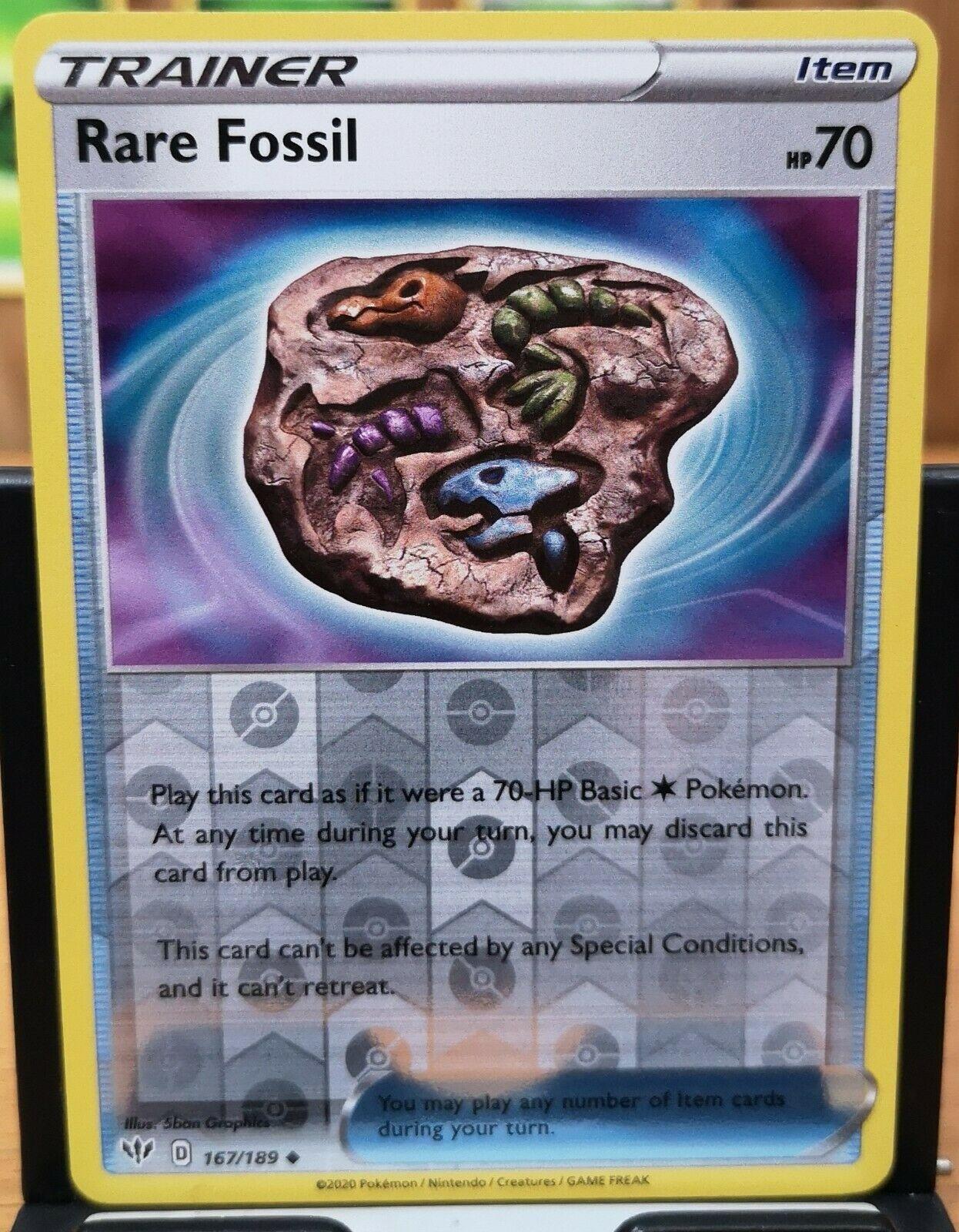 167//189 Uncommon Reverse Holo Near Mint Pokemon Sword and 3x Rare Fossil