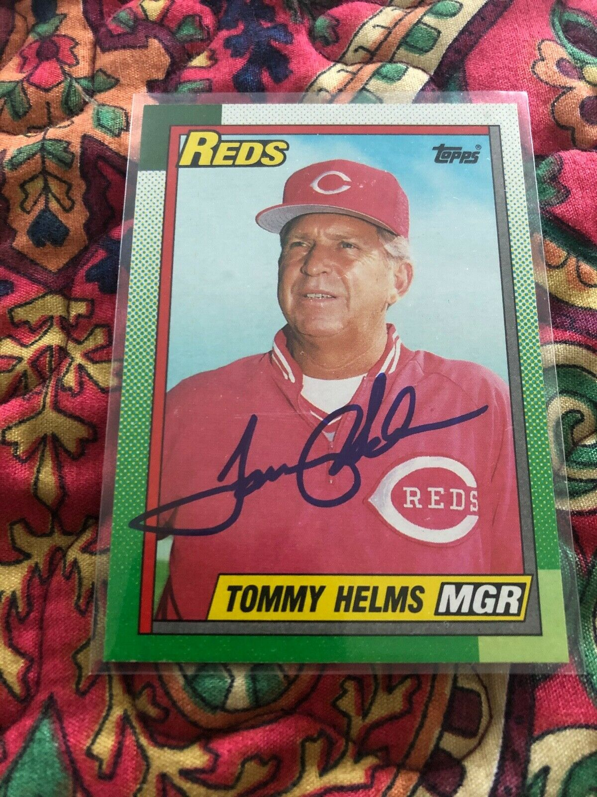 TOMMY HELMS SIGNED AUTOGRAPHED1990 TOPPS CARD #110 REDS MANAGER - Image 1